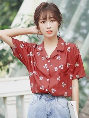 Clover Print Maroon Shirt 00009