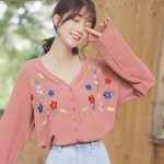 Colored Cherry Blossom Low V-neck Blouse