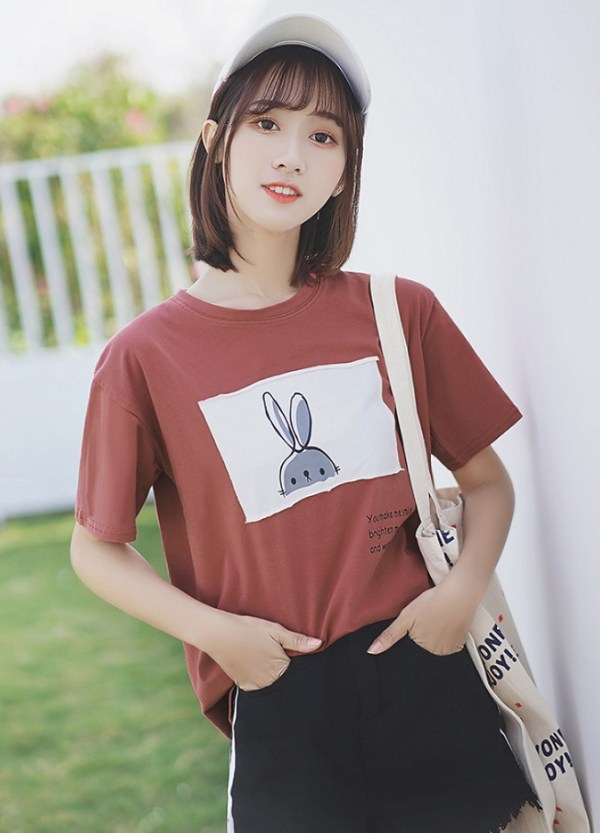 Cute Bunny Print Round Neck T-Shirt