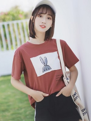 Cute Bunny Print Round Neck T-Shirt (5)