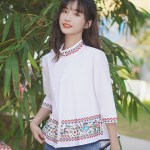 Floral Embroidered Band Collar and Sleeves Shirt
