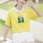 Hooded Drawstring Short-Sleeved T-shirt