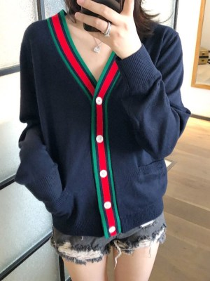 Jimin Red Lined Navy Cardigan 00008