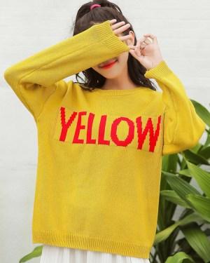 Jin Yellow Print Wool Sweater 00007