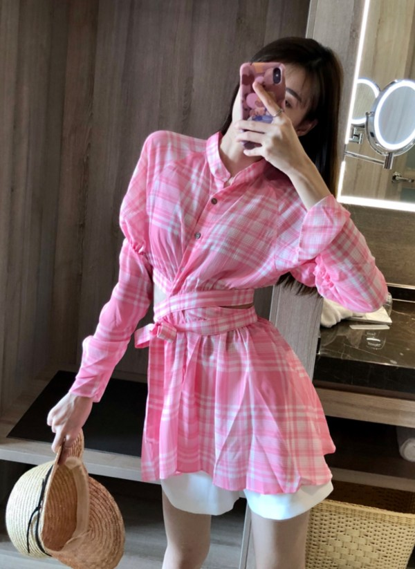 Pink Plaid Wrapped Around Blouse | Jisoo – Blackpink