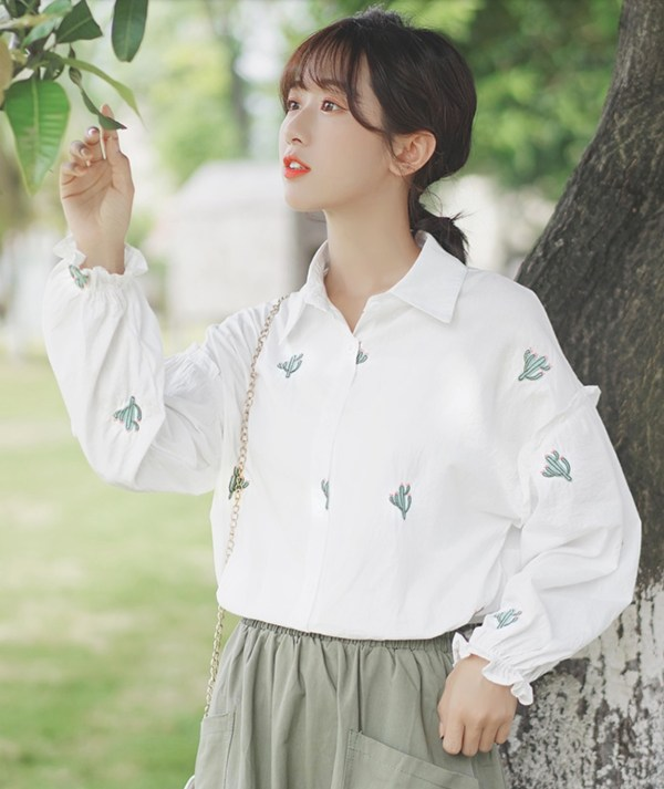 Long Sleeve Ruffled Cuff with Cactus Embroidered Shirt