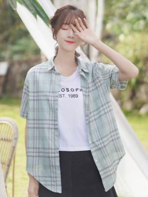 Loose Soft Plade Buttoned Shirt 00005