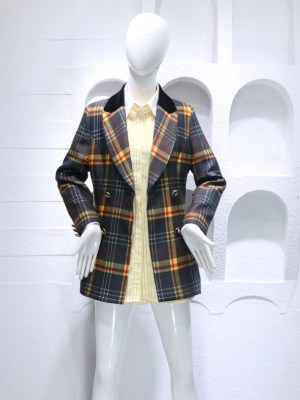 Momo Check Plaid Suit Jacket and Yellow Striped Long Inner Shirt Dress (1)