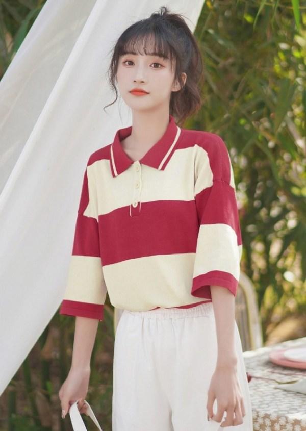 Oversized Half-Sleeve Polo Shirt