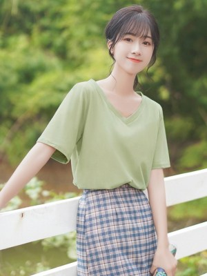 Plain Green V-Neck Tee (2)