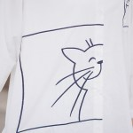 Playful Cat White Long Sleeve Shirt