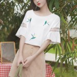 Ruffled Sleeve T-Shirt With Stitched Flowers