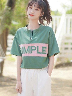 Simple Round Neck Shirt With Zipper (8)
