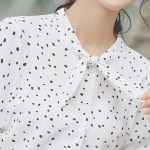 Small Dots with Loose Bow Tie Blouse