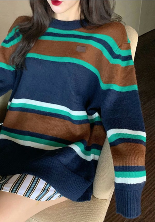 Blue And Brown Color Block Sweater | Suho – EXO