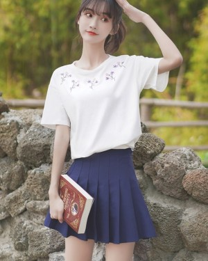 White Tee With Embroidered Flowers