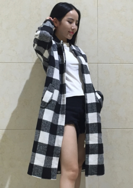 Black And White Checkered Coat | Yoona – Girls Generation