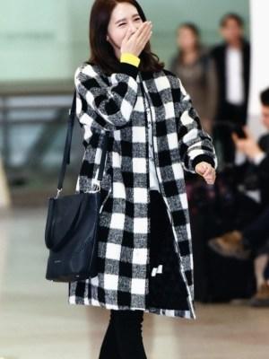 Black And White Checkered Coat | Yoona – Girls Generation