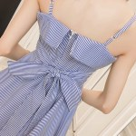 Blue Striped Tie Waist Double Layer Dress | Chaeyoung – Twice