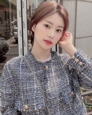 Blue Tint With Gold Buttons Tweed Jacket   Hyewon – IZ*ONE