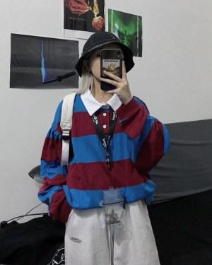 Hyuna Oversized Color Block White Collar Shirt 00008