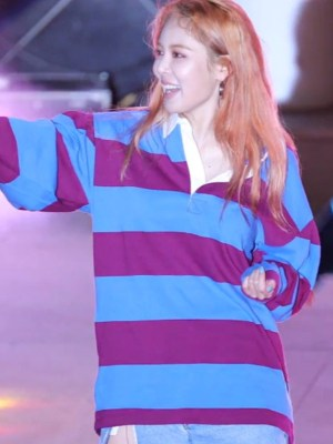 Oversized Color Block White Collar Shirt | Hyuna