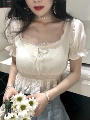 Hyuna Ruffled Lace White Cropped Top 00001