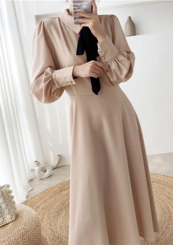 Black Bow In Beige Soft Long Dress | IU