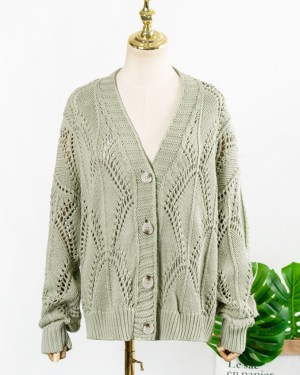 IU Green Hollow Knitted Cardigan (1)