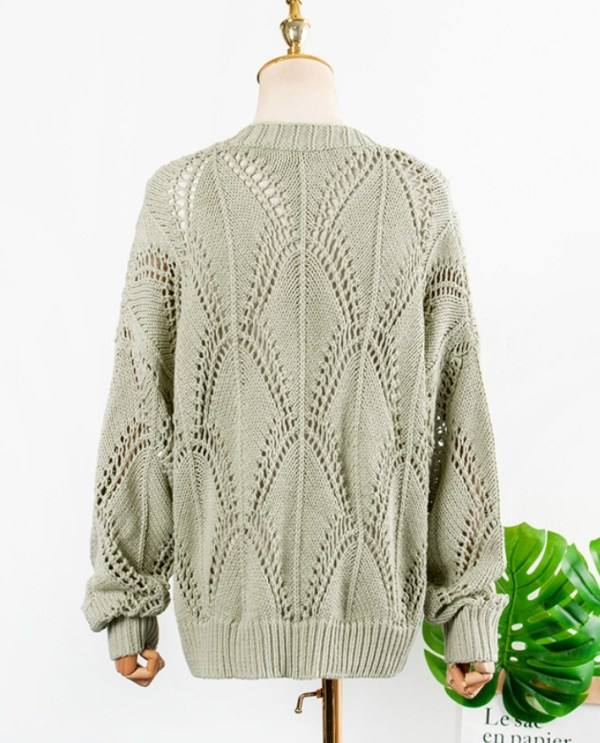 Green Hollow Knitted Cardigan | IU
