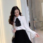 Oversized Bow Tie And Laced Bell Cuffs Shirt | IU