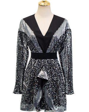 IU Shimmering Embellish Chiffon Mini Dress 00002
