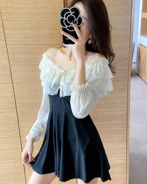 IU White Ruffled Off Shoulder Mini Dress 00014