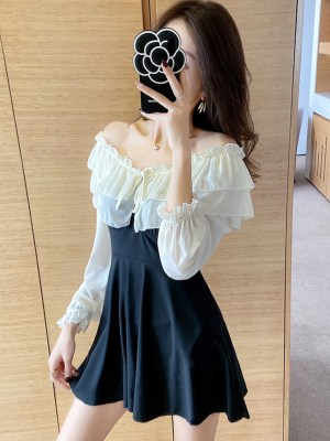 IU White Ruffled Off Shoulder Mini Dress 00014