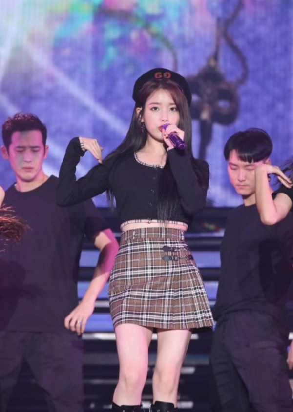 Yellow Butterfly Black Cropped Top   IU