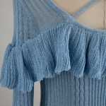Ocean Blue Ruffled Cuff And Chest Dress | Jennie – Blackpink