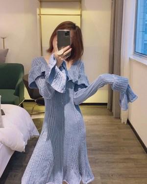Jennie Ocean Blue Ruffled Cuff And Chest Dress 00025