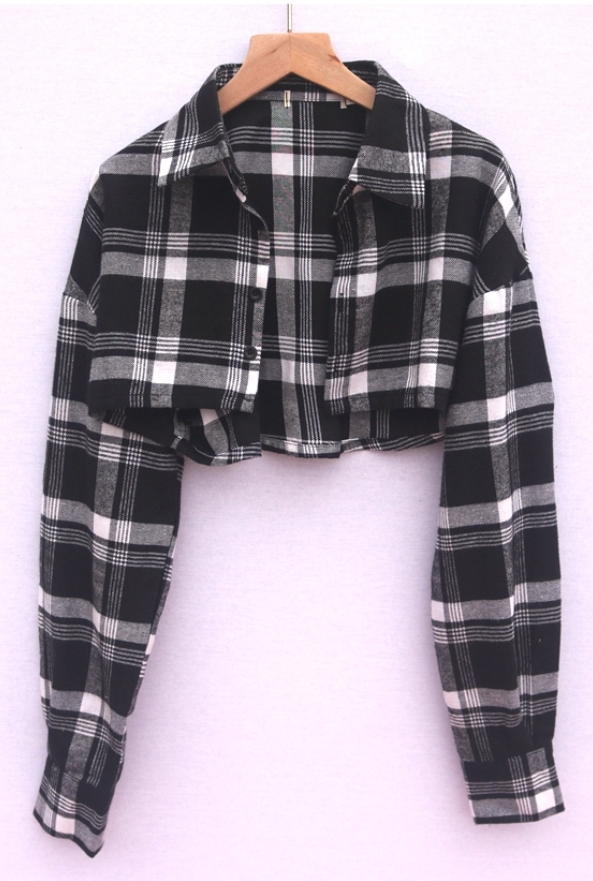 Plaid Black And White Cropped Cardigan | Jennie – BlackPink