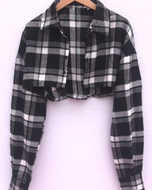 Jennie Plaid Black and White Cropped Cardigan (1)