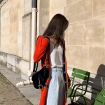 Red Long Cardigan With Black Tape Edging | Jennie – Blackpink