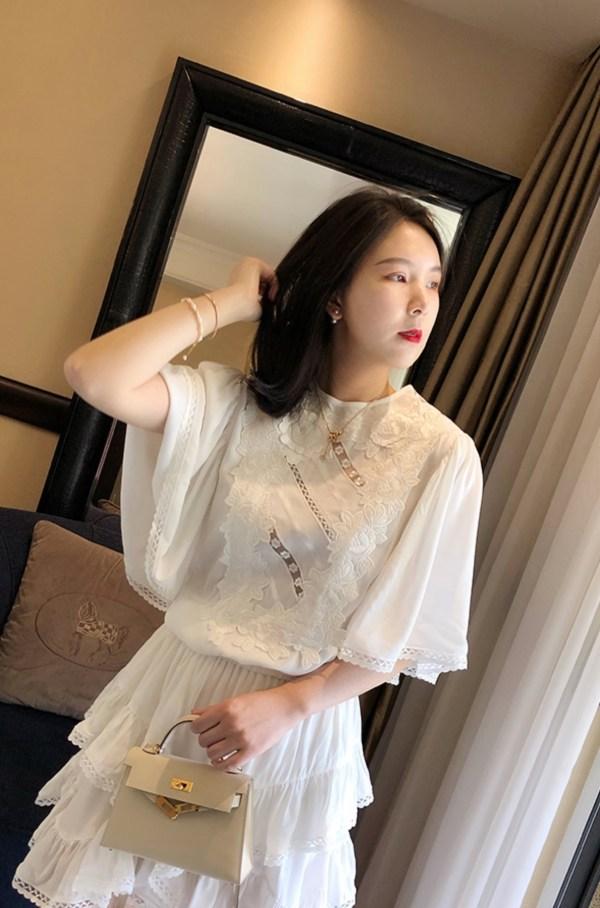 Cream Chiffon Brussels Lace Short Dress   Lisa – Blackpink