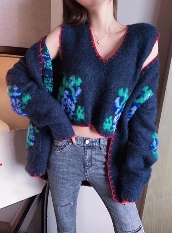 Red Stitchings Blue Mohair Cardigan | Momo – Twice