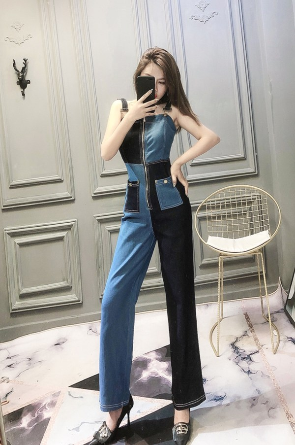 Midnight And Royal Blue Block Jumpsuit | Sana – Twice
