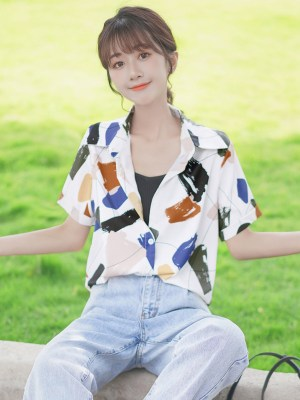 Abstract Multicolored Paint Print Shirt (5)