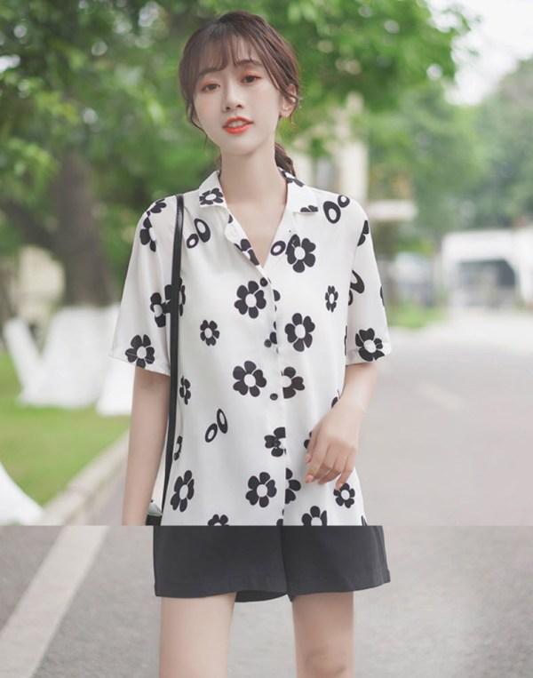 Black And White Daisy Print Shirt