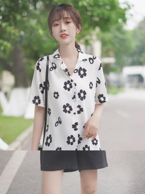 Black And White Daisy Print Shirt (6)