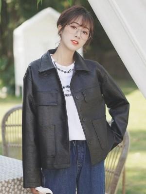 Black Loose Leather Jacket