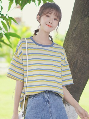 Blue And Yellow Striped T-Shirt (3)