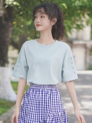 Blue T-Shirt With Buttons Accent On Sleeves (4)