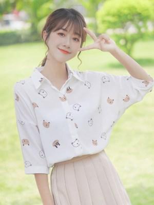 Cute Bear Head Prints Shirt (6)